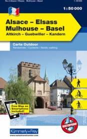 Kummerly Frey Outdoorkarte Elsass Vogesen Alsace Elsass